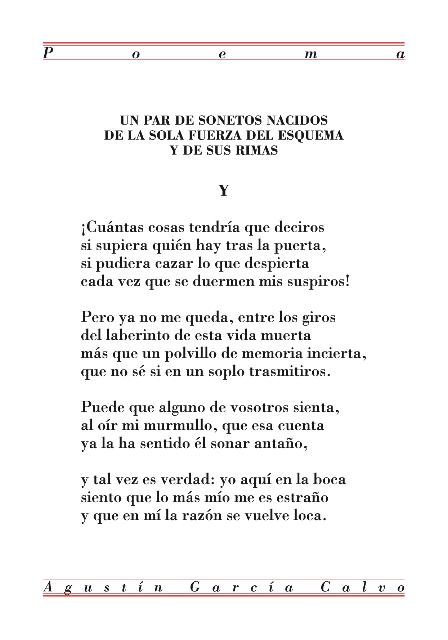 Soneto de Agustín García Calvo
