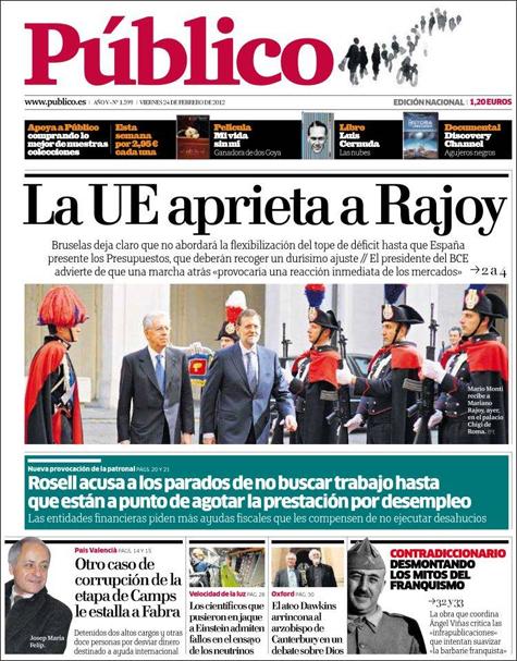 Última portada del diario Público (24-II-2012)